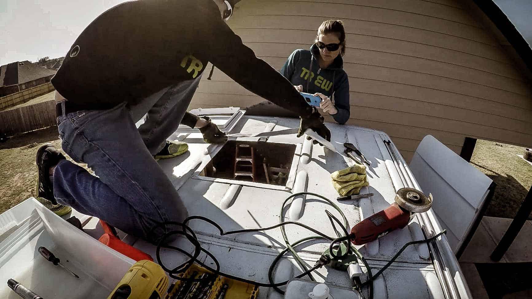 Installing roof vent on campervan-12