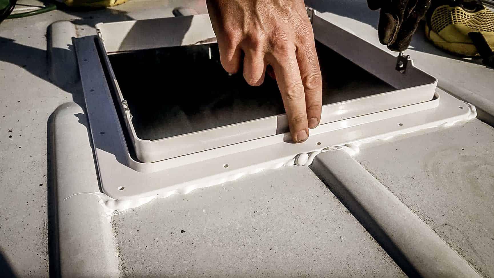 Installing roof vent on campervan-14