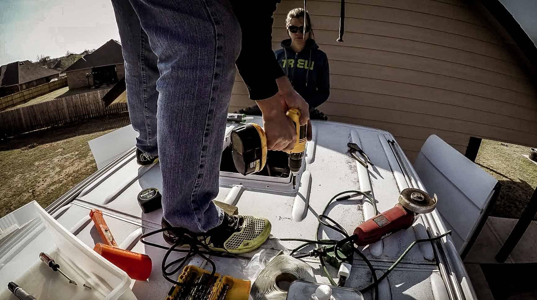 Installing roof vent on campervan-15