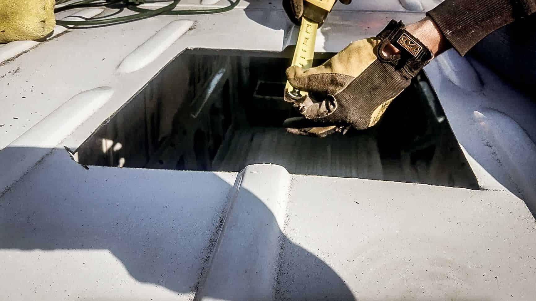 Installing roof vent on campervan-2