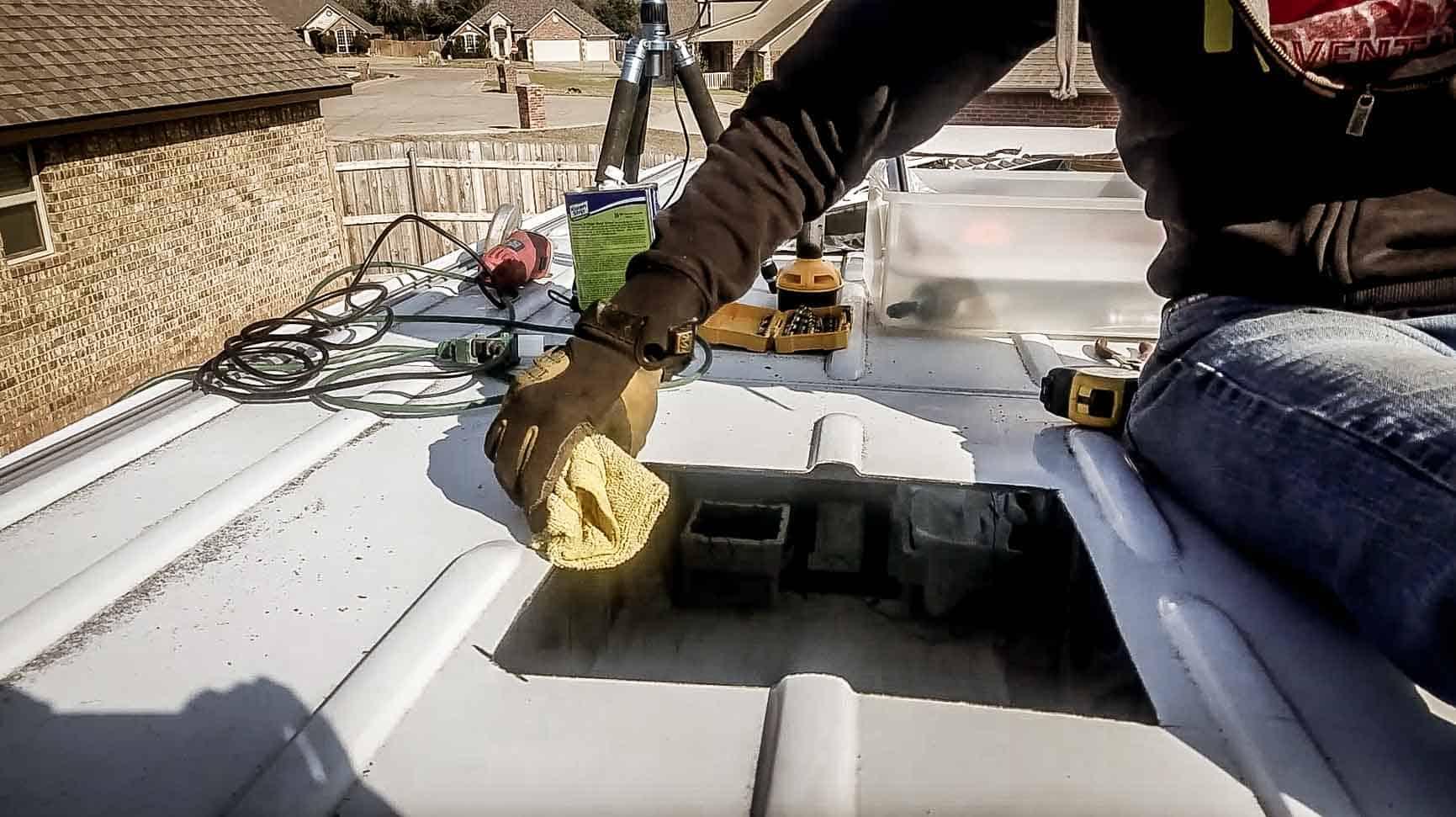 Installing roof vent on campervan-3