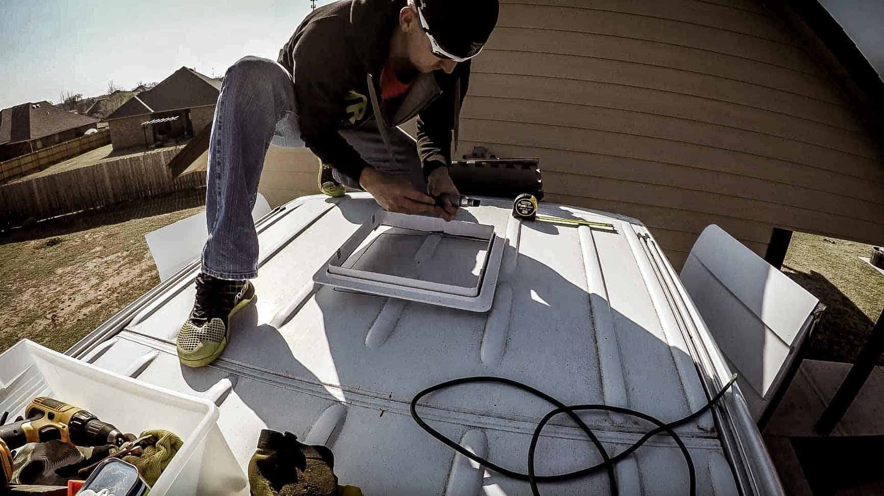Installing roof vent on campervan-4