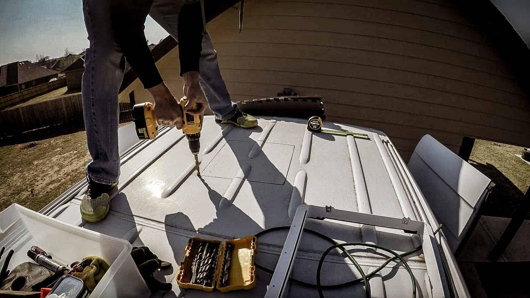 Installing roof vent on campervan-5