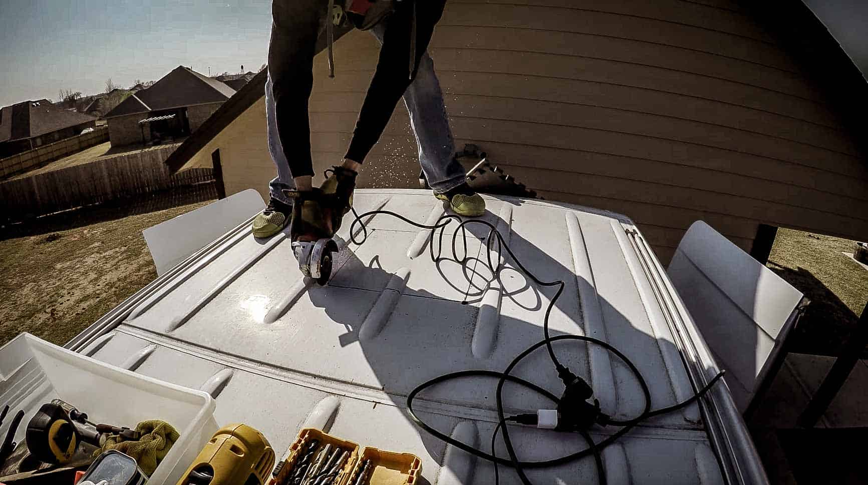 Installing roof vent on campervan-6