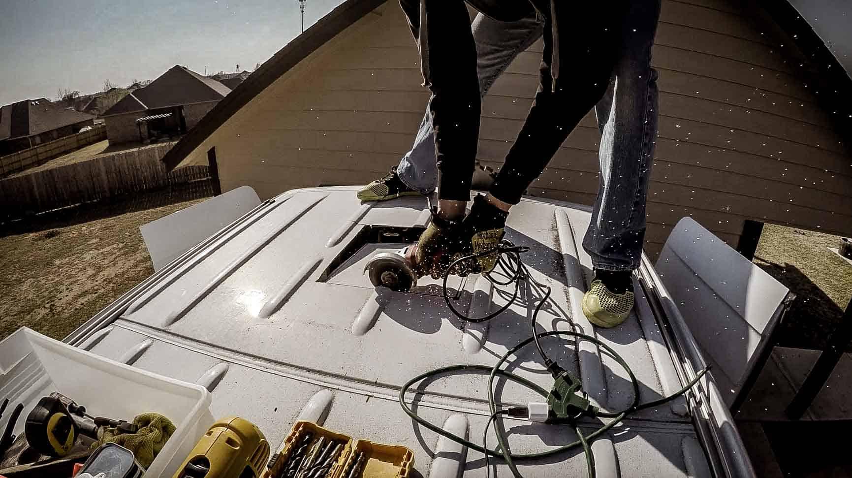 Installing roof vent on campervan-7