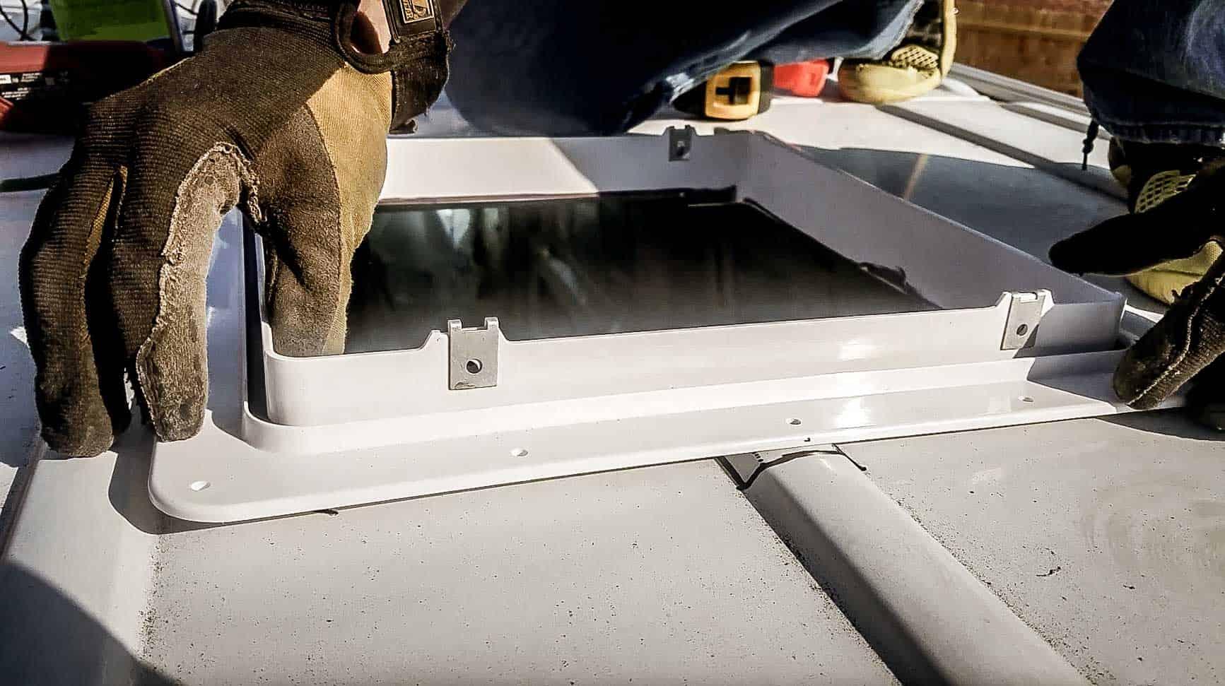 Installing roof vent on campervan-8