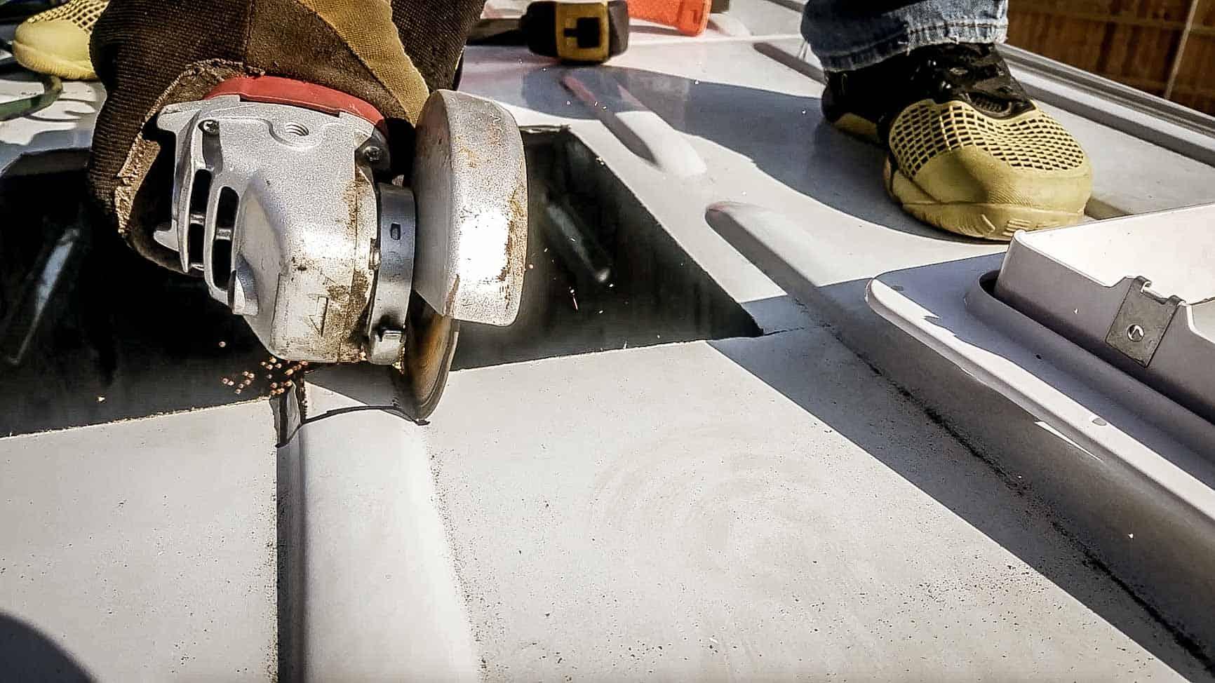 Installing roof vent on campervan-9