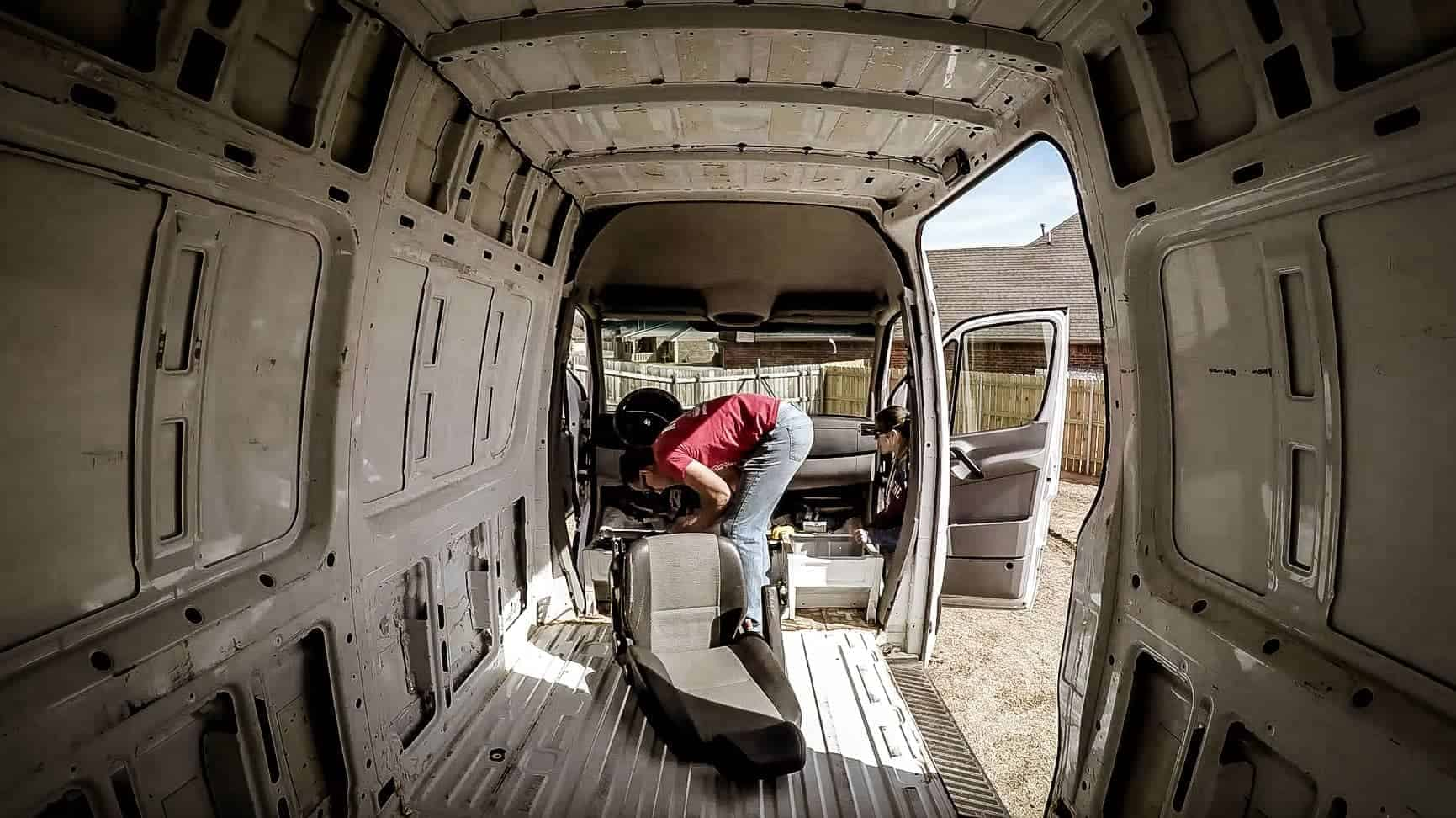 Removing the seats from our Mercedes Sprinter Campervan-3