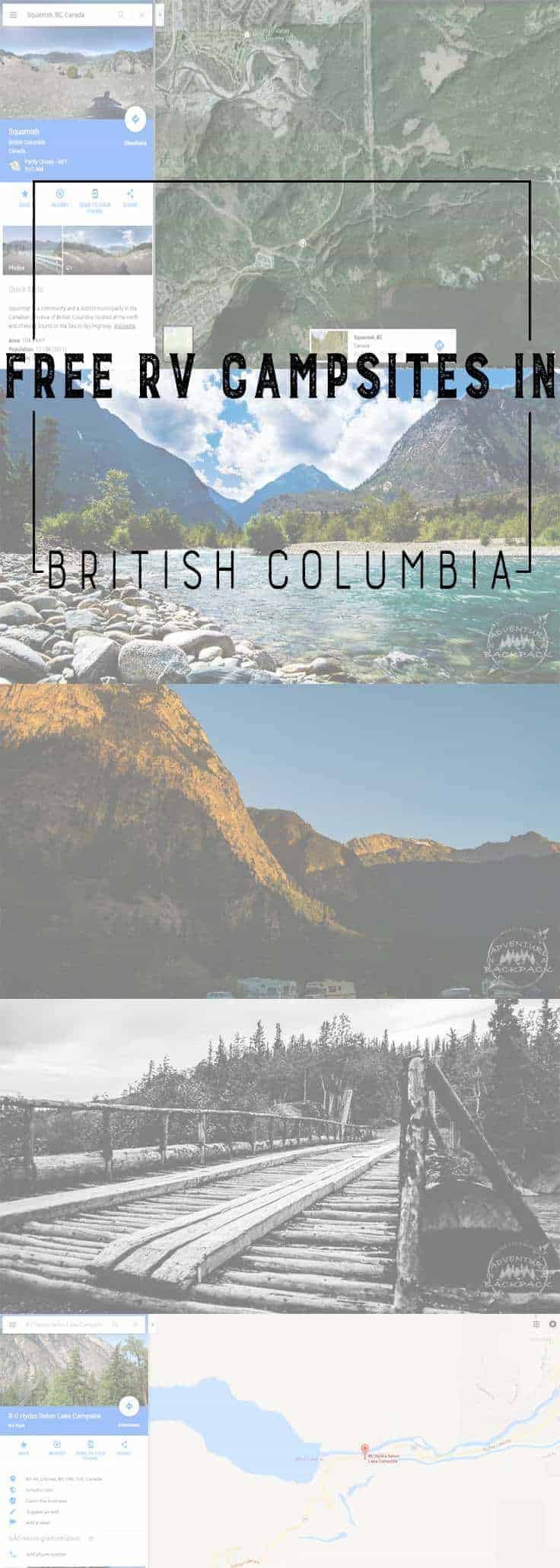 We found SEVERAL free options for free camping in our RV in British columbia on our way back from Alaska.  Glamping | Free Campsites | Canada Campsites | British Columbia Campsites